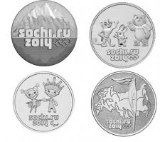RUSSIA FULL SET COIN 25 RUBLES OLYMPIC GAMES SOCHI 2014 UNC + booklet for coins