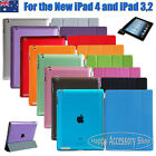 Apple New iPad 4,iPad 3/2 Smart Cover Skin Case and Crystal Clear Hard Back Case