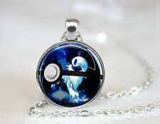 Absol Pokemon Pokeball Glass Cabochon Tibet silver pendant chain necklace