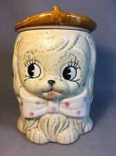 Vintage Puppy Dog Porcelain Cookie Biscuit Jar Hand Painted Cute Japan 11HH