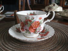 #V12 CUP SAUCER ROYAL ALBERT ENGLAND W/ROSES WHITE TRIM W/GOLD