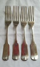 """4 LARGE DINNER FORKS, WM. GALE & SON NEW YORK COIN SILVER RARE 8"""" LONG"""
