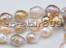 """P6265 33"""" 12mm Pink Lavender Almost Round Edison Keshi Reborn Pearl Necklace"""
