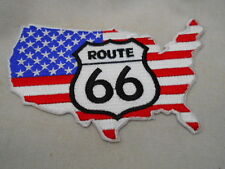 ROUTE 66 WITH RED WHITE AND BLUE ON THE U.S.A. NEW SEW/ IRON ON NAME PATCH  TAG
