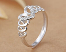 925 Sterling Silver Adjustable Zirconium Crystal Heart Ring Gift Valentine