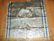 """vintage silk 36"""" square with fringe blue silver metallic tablecloth? scarf fabri"""