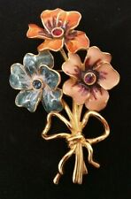 Joan Rivers Large Enamel Crystal Gold Tone Flower Bouquet Brooch Pin