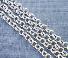 3ft Silver Plated Findings Rolo Link opened Cable Chains 5mm Jewelry making  DIY
