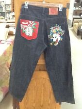 EUC! Men's Size 34 x 32 DON ED HARDY Dark Wash Denim Embroidered Jeans