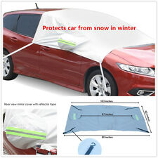 Car Snow Protect Cover Front Windshield+Side Rearview Mirror Protector Tarp Flap
