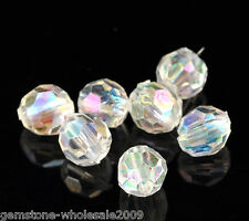 500PCS Lots Clear AB Color Faceted Acrylic Crystal Spacer Beads 6mmx6mm Dia GW