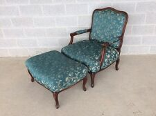 FRENCH PROVINCIAL BERGERE LOUIE XV ARM CHAIR AND OTTOMAN