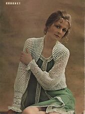 Vintage Crochet Pattern for Lady's Lace Shrug/Bolero.