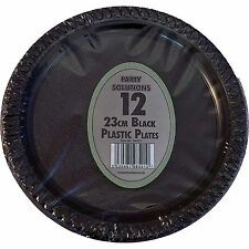 "12 x BLACK PLASTIC PLATES ROUND 23cm 9"" PARTY SUPPLIES TABLEWARE DISPOSABLE"