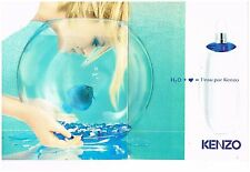 Publicité Advertising 1996 (2 pages) Parfum H2O l'eau par Kenzo