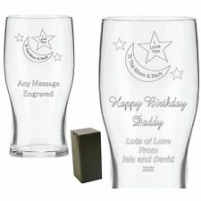 Personalised Engraved Pint Glass Daddy Mummy Grandad Nana Birthday Gifts Xmas