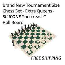 Tournament Chess set - Full Size - SILICONE Board - Extra Queens Included