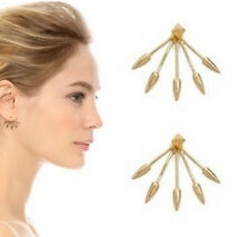 Fashion Jewelry Spike Ear Jacket Arrow Punk Claw Gold Double Sided Earrings
