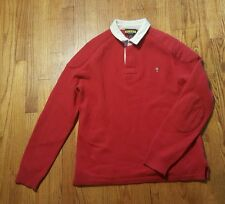 RUGBY Ralph Lauren wool rugby sweater MEDIUM white collar padded LS rare
