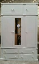AYLESBURY (WHITE) 4 DRAWER TRIPLE WARDROBE+TOP BOX (MIRRORED) NOT FLAT-PACK!!!