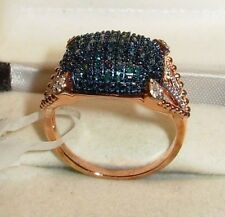 .50CTW LARGE GENUINE BLUE & WHITE DIAMOND RING ROSE GOLD OVER STERLING SILVER