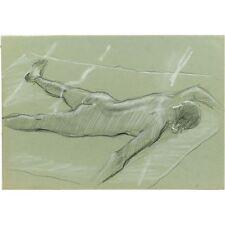 ORIGINALE unframed Mid Century Vintage STUDIO ART procumbent nudo femminile disegno