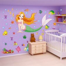 Cartoon Mermaid Removable Decals Wall Stickers Mural Art Home Kids Room Decor