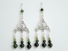 Sterling Silver large Celtic trinity knot with swoop dangle Earrings-Jade, knots