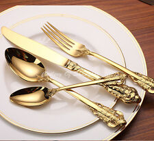 48 Pieces Stainless Steel 18/10 Gold Dinnerware Set 18th Century Replica Cutlery