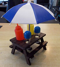 Picnic Table Condiments Holder Salt Pepper Mustard Ketchup Bottles For Caravan