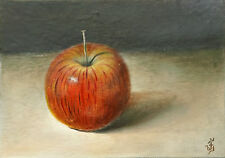 Original Oil Painting Still Life Fruit Food RED APPLE Signed by JV 5x7in.