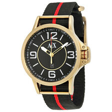 Armani Exchange Black Dial Black and Red Canvas Mens Watch AX1581