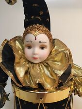 New Harlequin Clown Music Box Porcelain Face Hands Gold Drum Animated Jester NWT