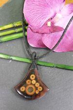 Holzkette mit Anhänger aus Holz und Bambus, Lederband, 28 cm