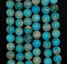 8MM SEA SEDIMENT IMPERIAL JASPER GEMSTONE SKY BLUE ROUND LOOSE BEADS 15.5""