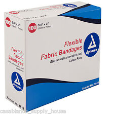 "Sterile Fabric Bandages 3/4""X3"" latex free adhesive, box of 100 - band aid"