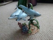 """Country Artists """" Moonlight Magic Dolphin Family"""" resin figurine"""