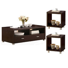 Contemporary Espresso Wood Nickel Metal Leg 3 PC Occasional Coffee End Table Set
