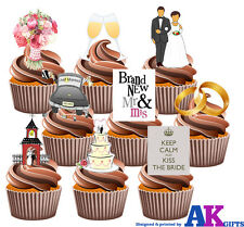Wedding Party Pack Mix 36 Edible Stand Up Cup Cake Toppers Decorations Mr & Mrs