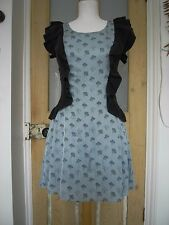 Designer Clothing 'Once Upon A Time' Pale Blue x Black Frilled silky Dress S
