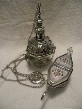 Antique Style Gothic Incense Thurible and Boat Set
