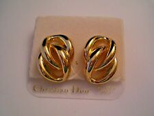 Christian Dior GOLD PLATED Double Link Earrings, 14 K Gold Posts / New