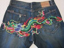 Men's Ed Hardy Button Front Embroidered Dragon Jeans Lot 2008 Size 40 Nice!
