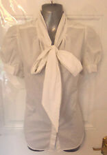 ❤ FRENCH CONNECTION Gorgeous Ladies Size 12 White Button Up Cotton Blouse Top