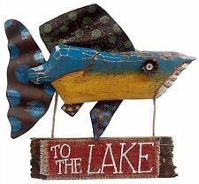 "Wood Metal Funky Fish 'To the Lake' Sign Cabin Lodge Home Wall Decor 18"" NEW G10"