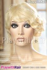 Retro Finger Waved Pinup Shot Wig HEAT SAFE Platinum Blonde