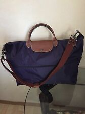 NWOT Longchamp Expandable Le Pliage Travel Bag Duffel Tote! Dark Purple