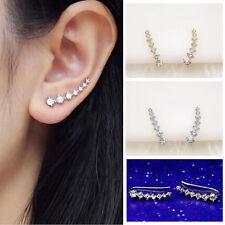 Women's Fashion Rhinestone Silver Crystal Earrings Ear Hook Stud Jewelry Gift