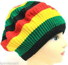 Hot Men Ladies Knitted Rastafary Style Fashion Beanie Bobble Ski Hat Slouch Cap