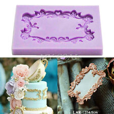 Relief Vintage Mirror Frame Silicone Fondant Mould Cake Decor Sugar Paste Mold